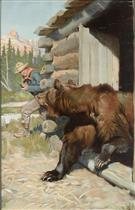 Ranger with rifle and bear coming out of cabin
