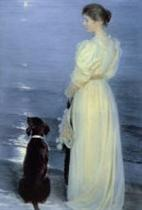 Summer Evening at Skagen, the Artist's Wife with a Dog on the Beach