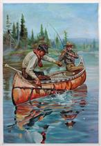 Two Fishermen in a Birch Canoe