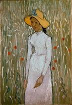 Woman in a field of poppies
