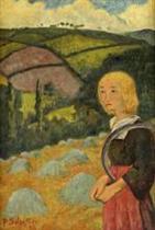 Young Breton Girl and Haystacks