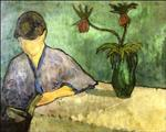 Young Woman in Kimono, Reading