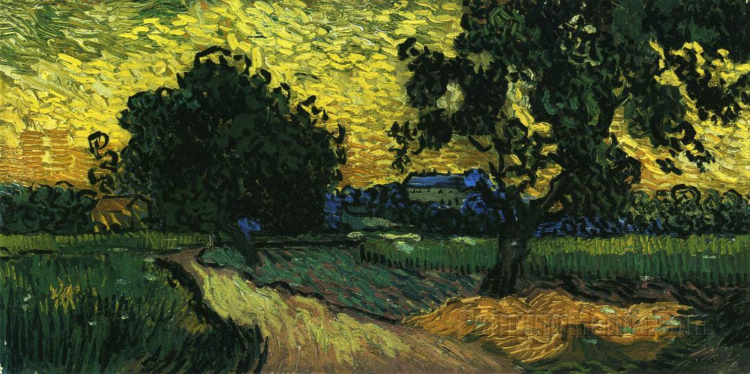 Field with Trees, the Chateau of Auvers