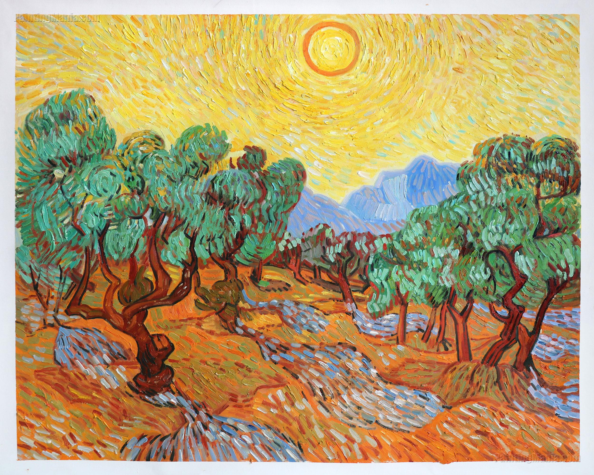 olive trees with yellow sky and sun vincent van gogh paintings