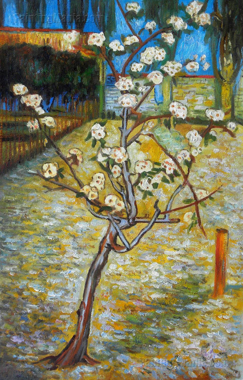 1888 Pear tree in Blossom Realism Post-Impressionism Art Poster VAN GOGH