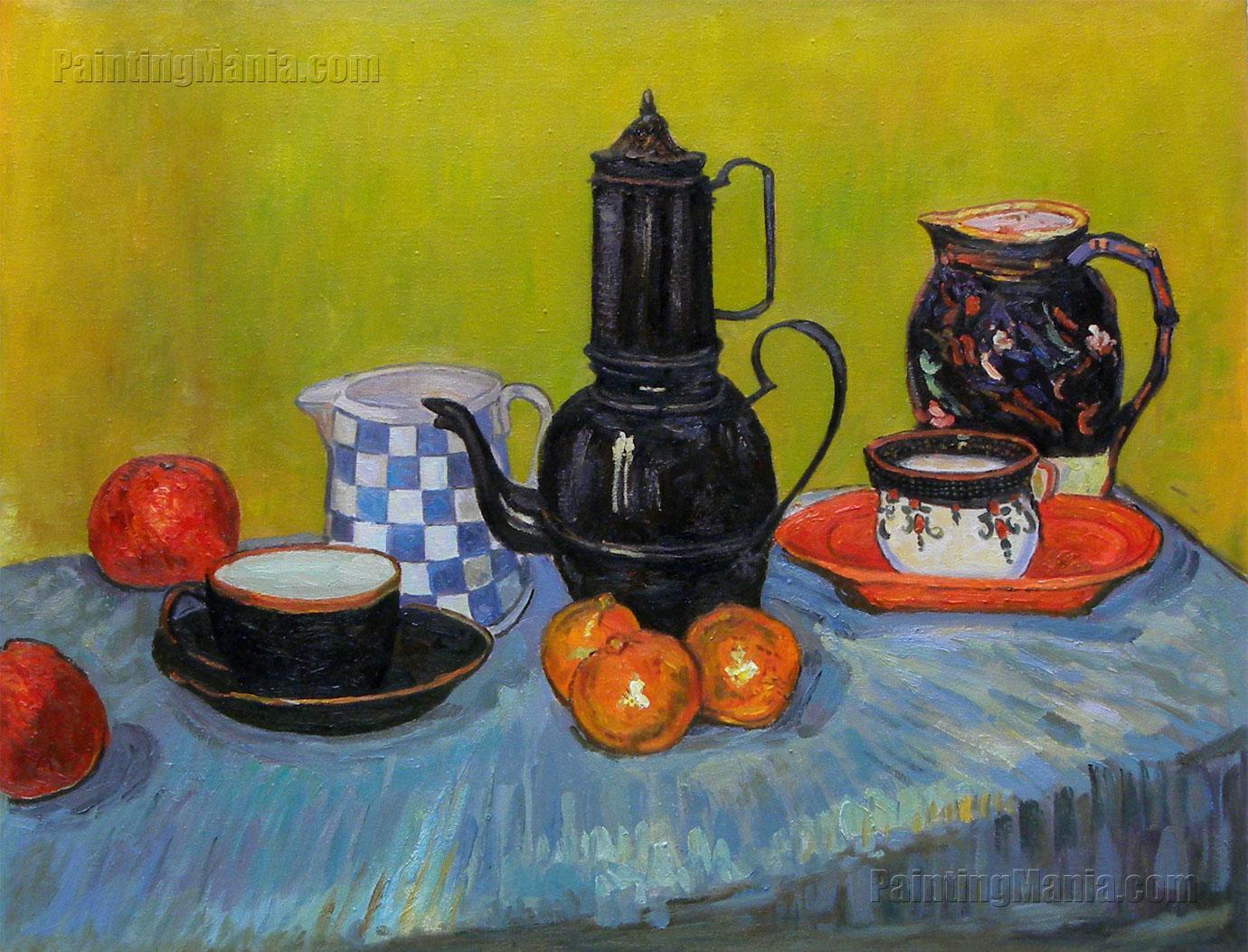 Still Life - Blue Enamel Coffeepot, Earthenware and Fruit