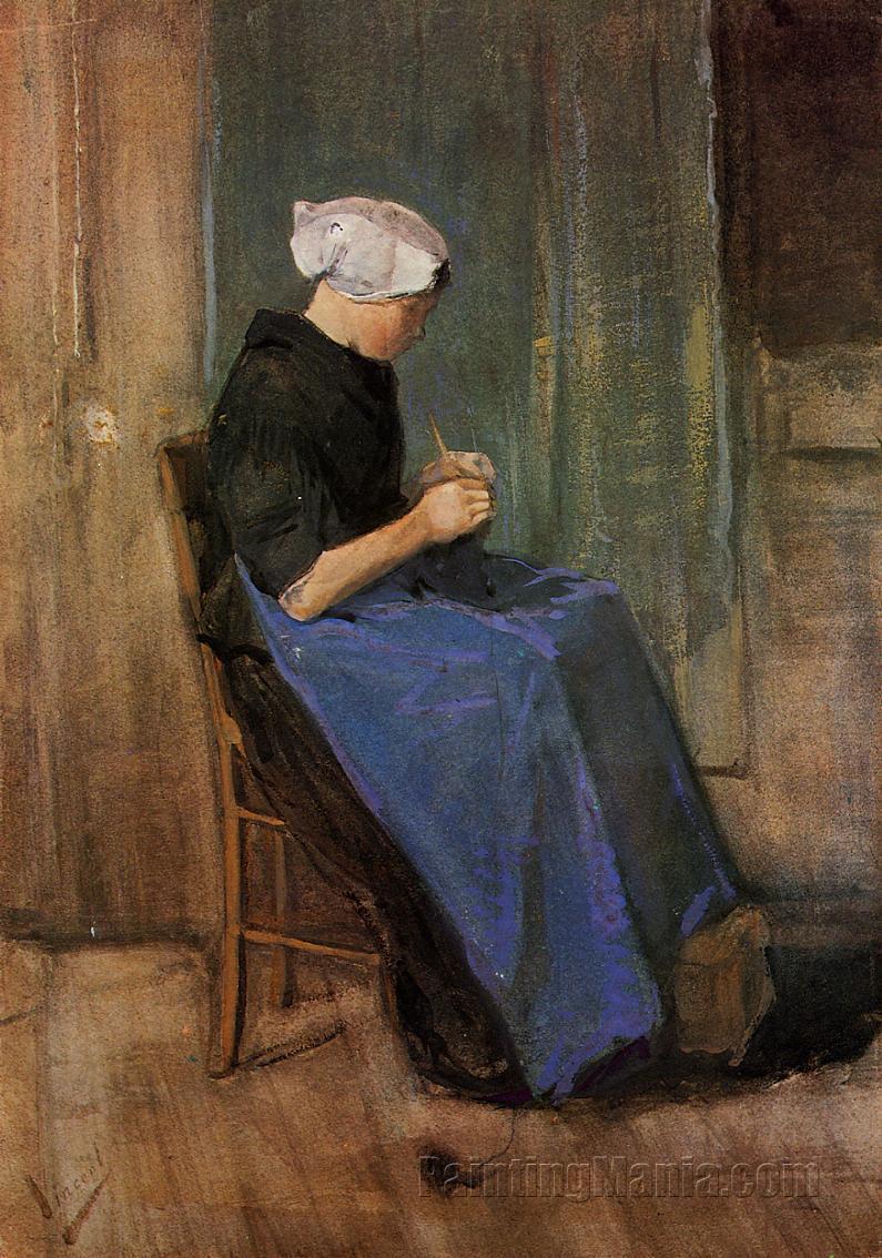 Young Scheveningen Woman Knitting