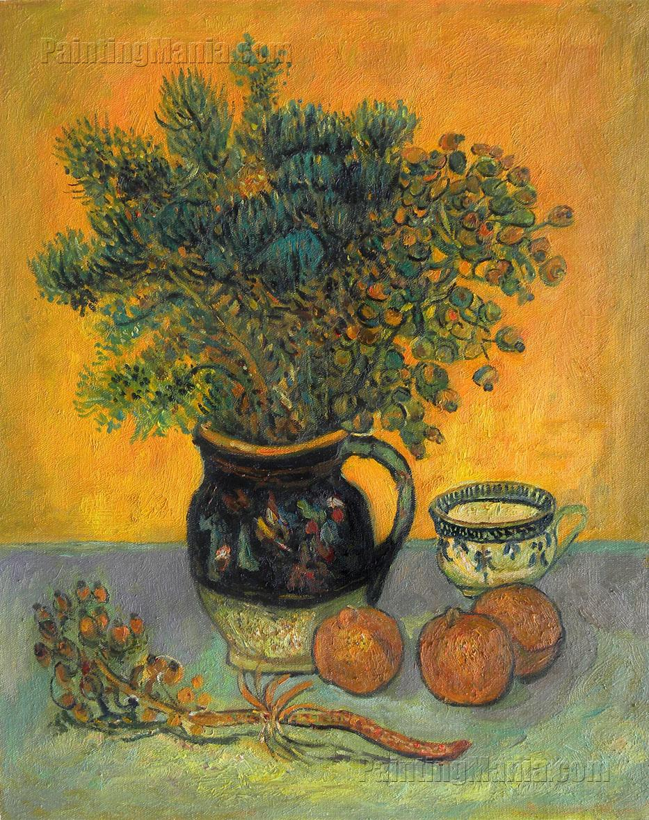 still life majolica jug with wildflowers vincent van gogh paintings. Black Bedroom Furniture Sets. Home Design Ideas