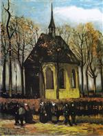 The Church of Nuenen with Churchgoers