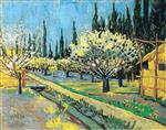 Flowering Orchard, surrounded by Cypresses