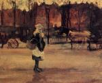A Girl in the Street, Two Coaches in the Background