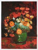 Vase with Zinnias