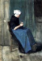 Young Scheveningen Woman Knitting, Facing Right