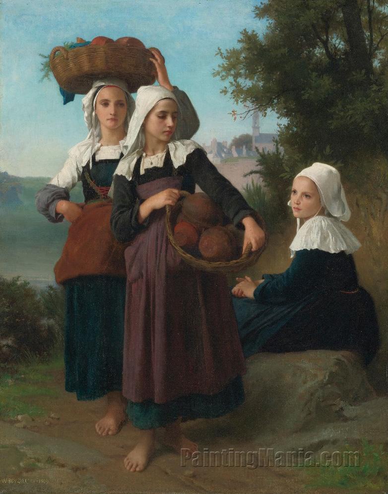 Girls returning from the market