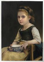 Little Girl with Blue Bowl