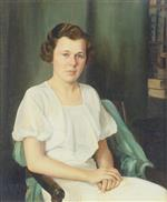 Portrait of a Seated Woman in a White Dress