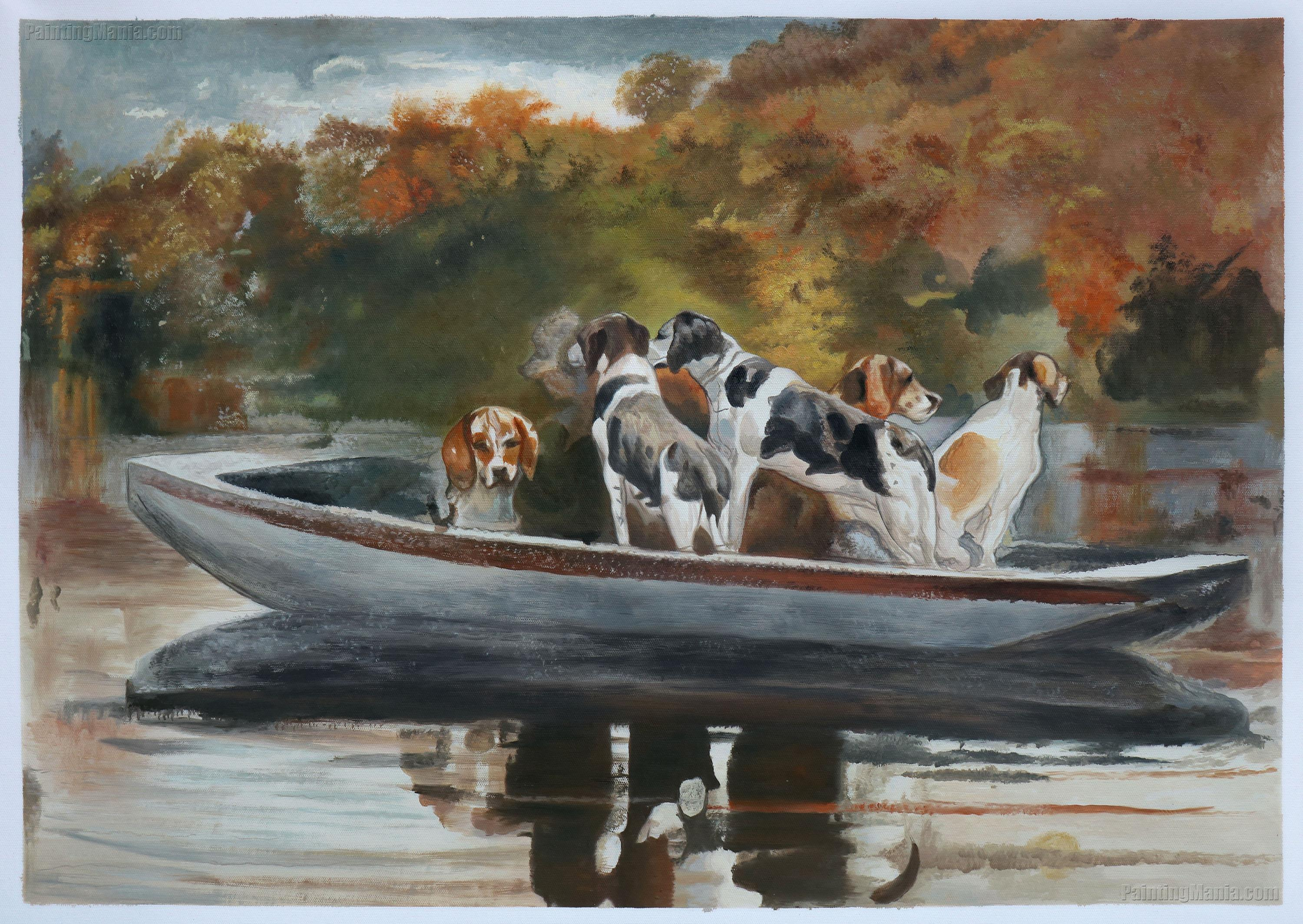 Hunting Dogs in Boat (Waiting for the Start)