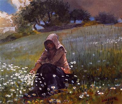 Girl and Daisies